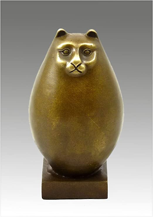 31 cm Skulptur Figur Bronze sitzende Katze