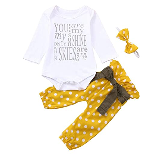 d152e0419 Amazon.com: WARMSHOP Zero Shipping 3 PC Baby Girls Clothing Letter Print  Long Sleeves Cotton Romper Tops+Dot Print Pants+Bowknot Headband: Clothing