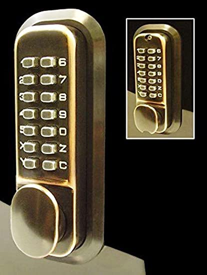 All Weather Double Keypad Mechanical Keyless Door Lock (Antique Brass) By  Code
