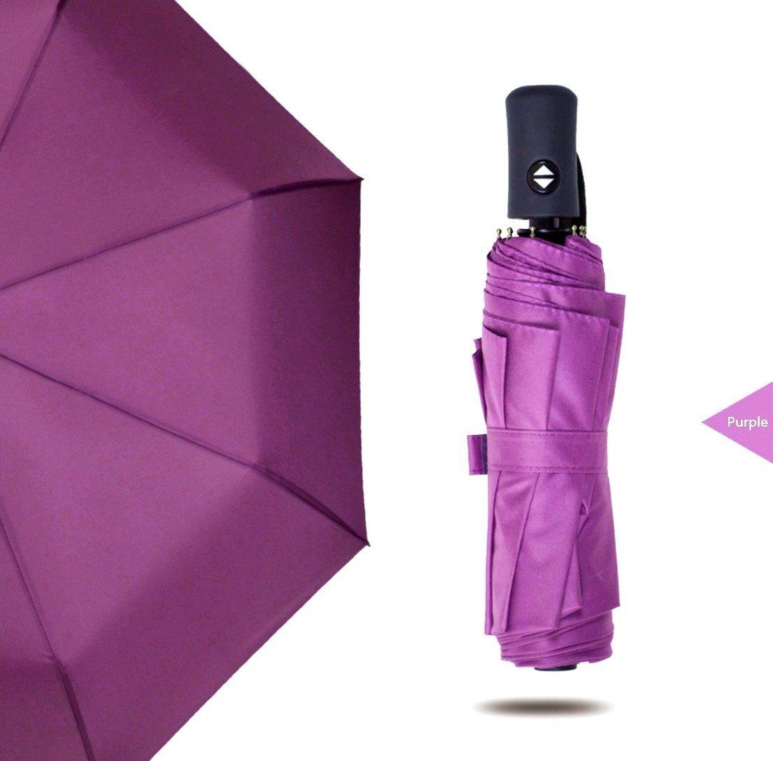 BESTFUN Travel Umbrella - Sun&Rain Compact Umbrella for Men Women and Kids, Windproof Automatic LightWeight Unbreakable Umbrellas (Purple)