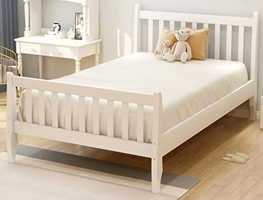 Amazon Com Danxee Wood Twin Bed Frame With Headboard And Footboard Platform Bed Frame Mattress Foundation With Wood Slat Support For Kids Teens Twin White Kitchen Dining