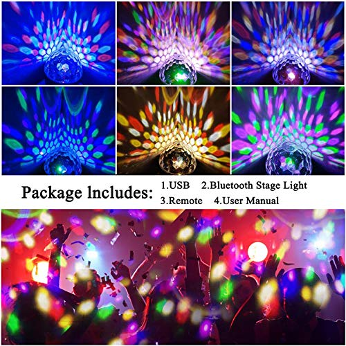 Bluetooth Disco Ball Lights, 9 Colors LED Party Lights DJ Sound Activated Rotating Lights Wireless Phone Connection with Bluetooth Speaker MP3 Play and Remote for Home KTV Wedding Dance Show by Allness Group (Image #3)
