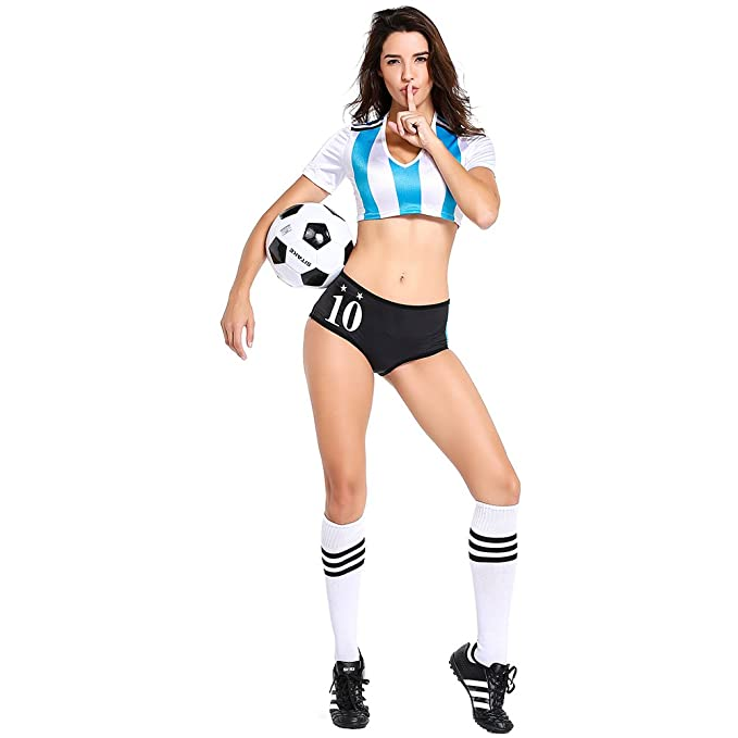 415f43708 Amazon.com  COSMOVIE Football Cheerleading Uniform for Women Sexy Adult  Soccer Baby Outfit Cheerleader Costumes  Clothing