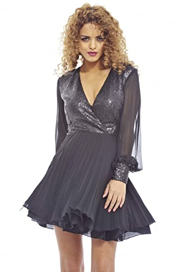 a8093f85a0 AX Paris Women s Self Coloured Sequin Kick Out Net Pleat Black Dress ...