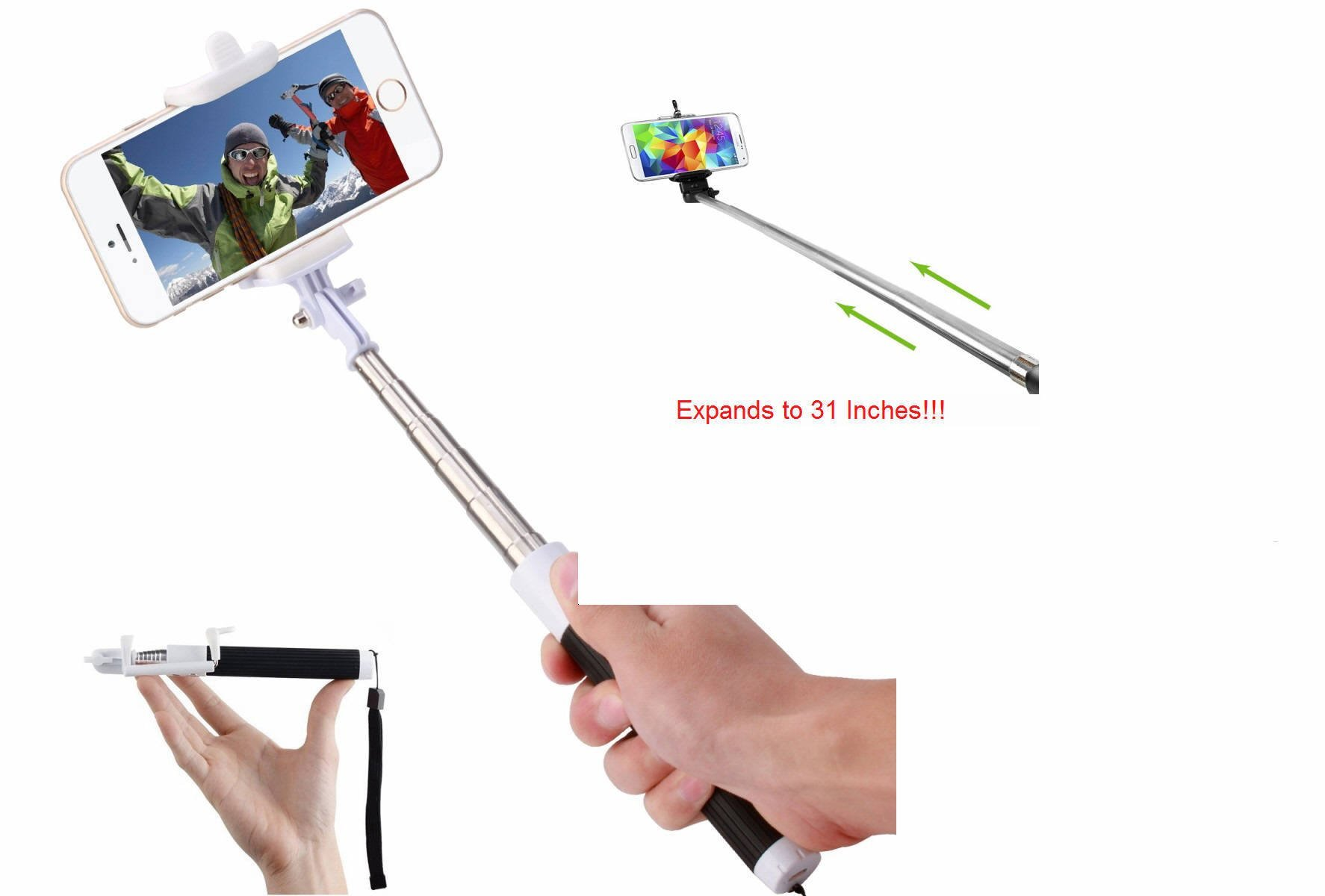 Cell-Stuff Compact Pink Extendable [Bluetooth] Wireless Self Portrait Selfie Stick Stick Handheld Monopod with Shutter Controls Button on Handle Compatible w/Moto G7 Power by Cell-stuff (Image #3)