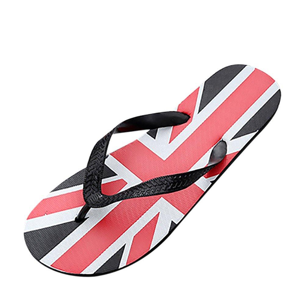 VonVonCo Men Flag Anti Skidding Flip Flops Slipper Sandals Beach Shoes Independence Day Black