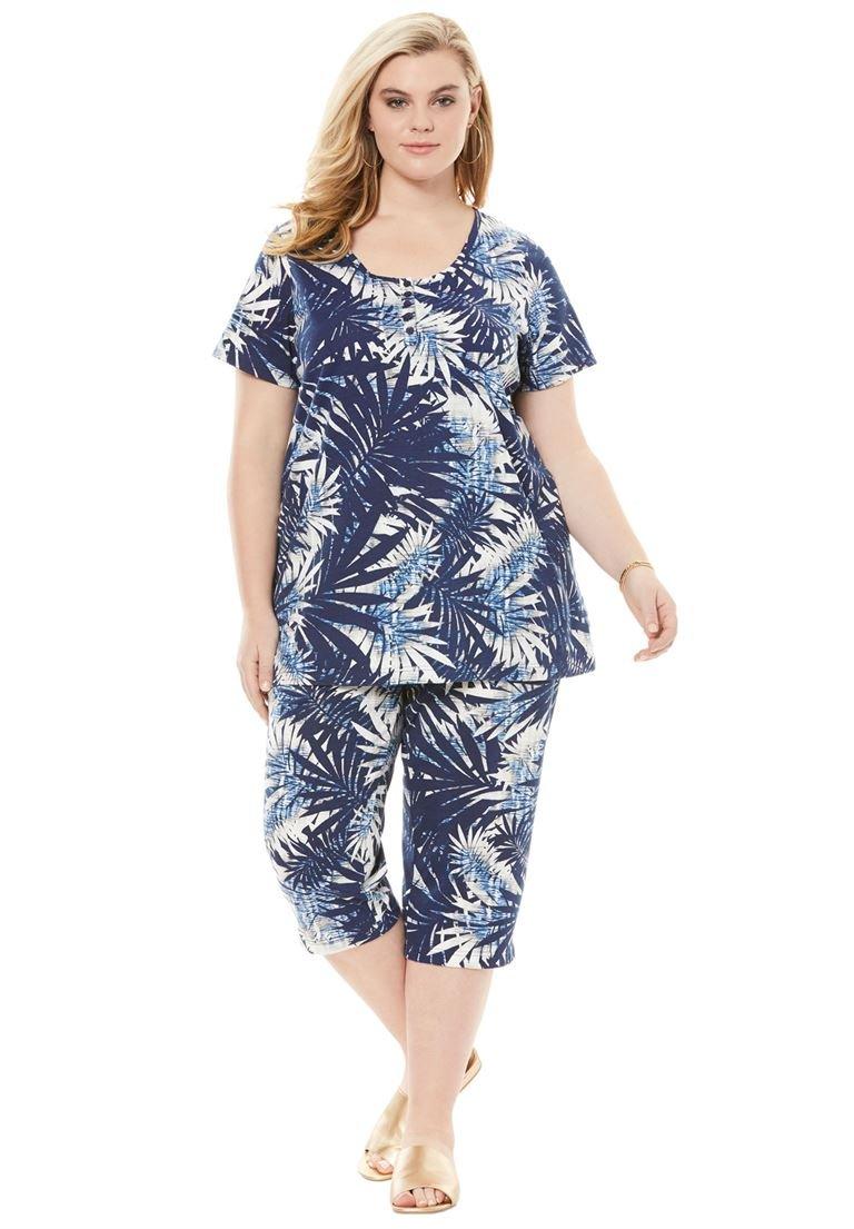 Roamans Women's Plus Size Bold Print Capri Set