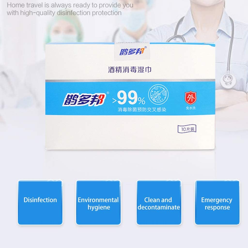Haptian 10Pcs Alkohol Desinfektionstuch Tragbares antibakterielles sp/ülfreies Antiseptikum