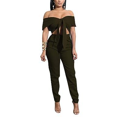 dc36d18a81af Amazon.com  Women Sexy Two Piece Outfits Strap Floral Crop Top + Long Pants  Bodycon Jumpsuit  Clothing