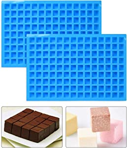 BUYGOO 2Pcs 126 Cavity Square Silicone Mold, Mini Candy Molds for Chocolate Gummy Ice Cube Jelly Truffles Pralines Caramels Ganache