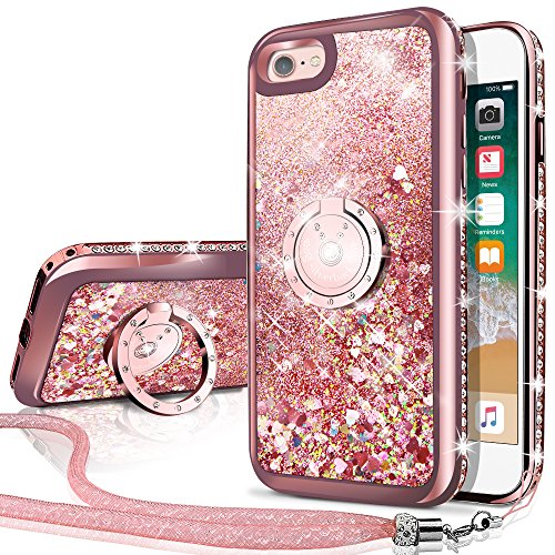 iPhone 6S Case, iPhone 6 Case, Silverback Moving Liquid Holographic Sparkle Glitter Case With Kickstand, Bling Diamond Rhinestone Bumper With Ring Protective Apple iPhone 6/6S Case for Girls Women -RD