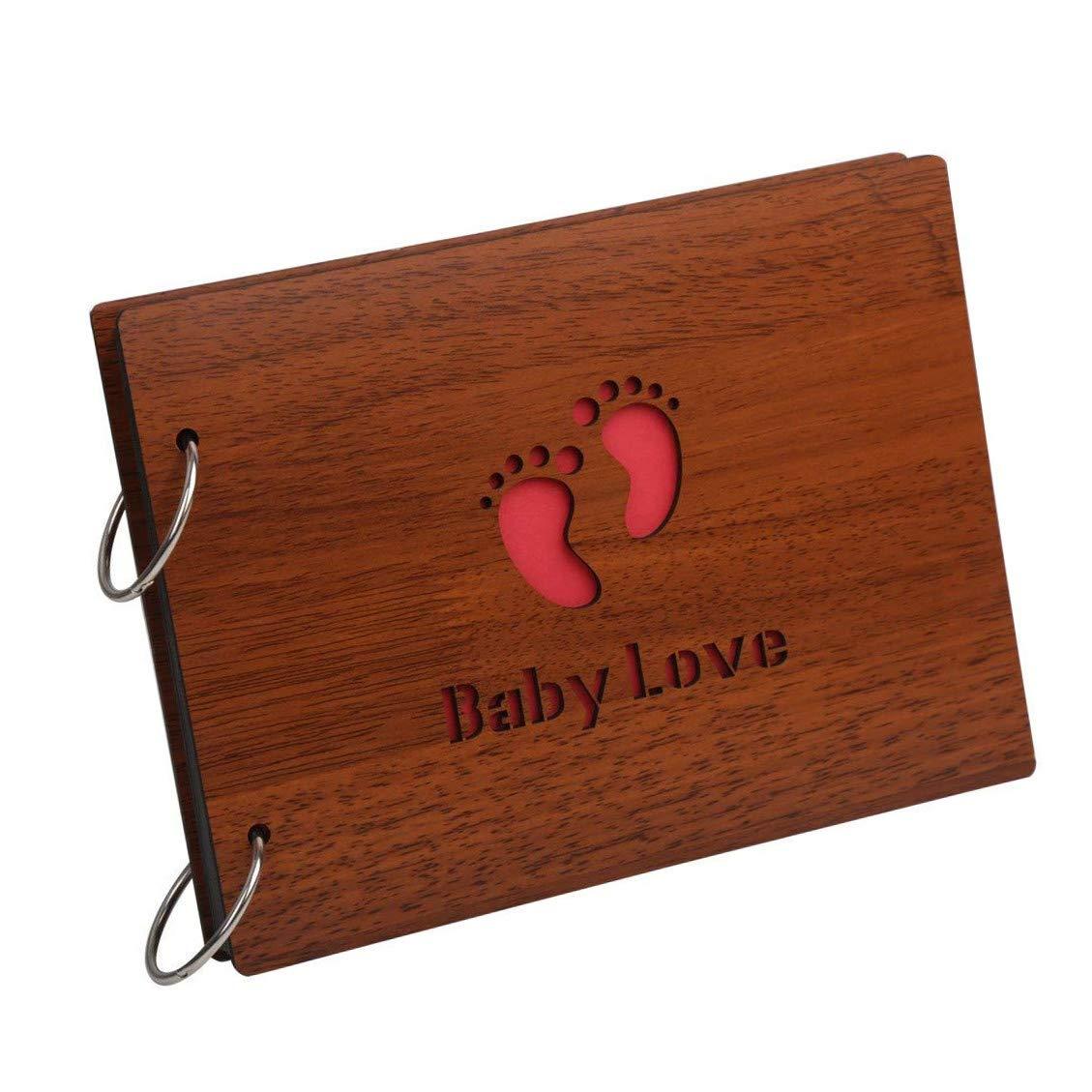 Zengest - Álbum de fotos para bebé (madera, para guardar fotos de crecimiento, con divertida descripción), texto en inglés «Baby Love»