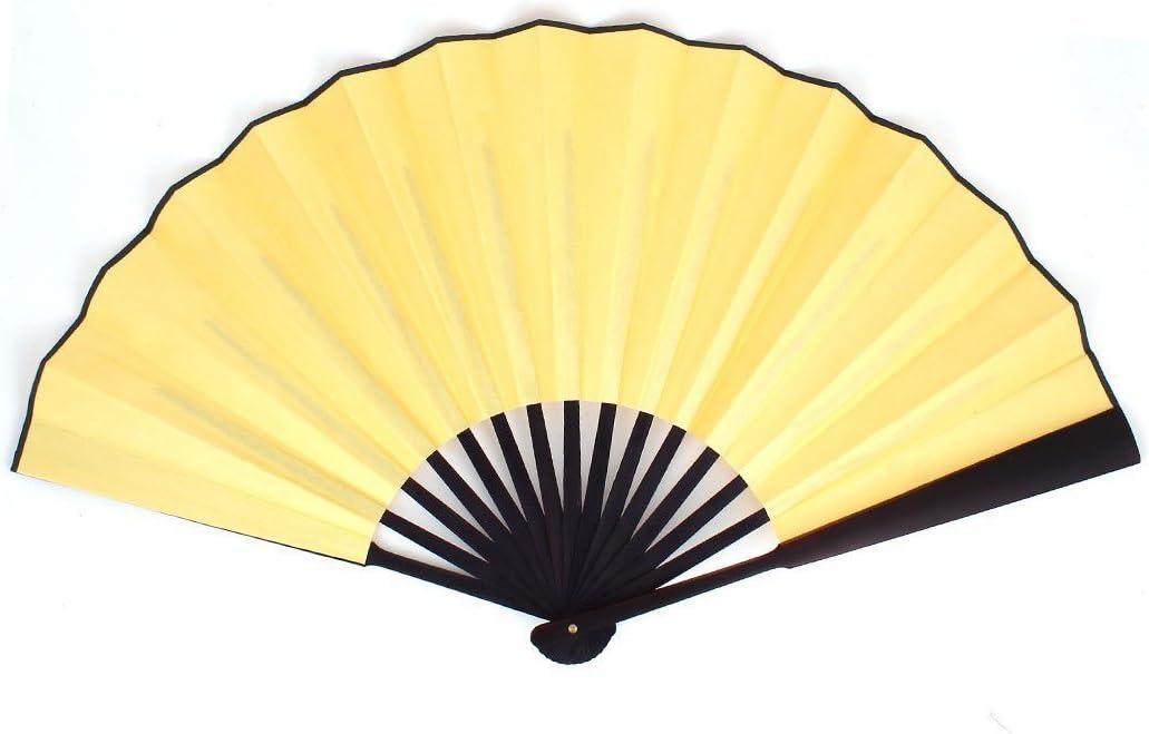 Abanico de mano - TOOGOO(R)Abanico de mano plegable de mango de madera de mujer hombre 13 pulgadas Longitud Amarillo: Amazon.es: Hogar