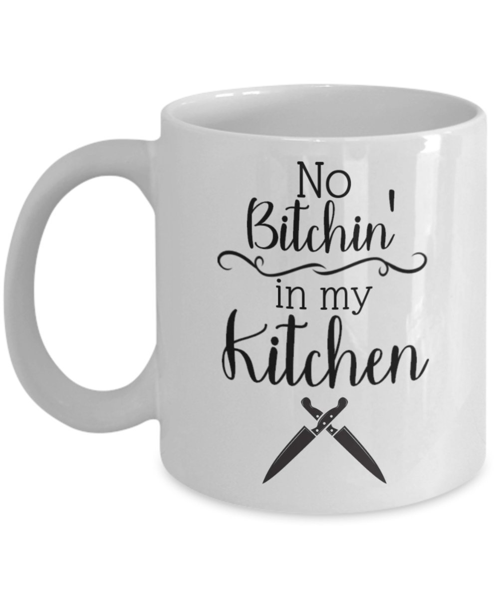 No Bitchin ' In My Kitchen Mug for料理人、ママ、Bakers、with Knives 11oz GB-2246571-20-White B0797H8LB8 ホワイト 11oz