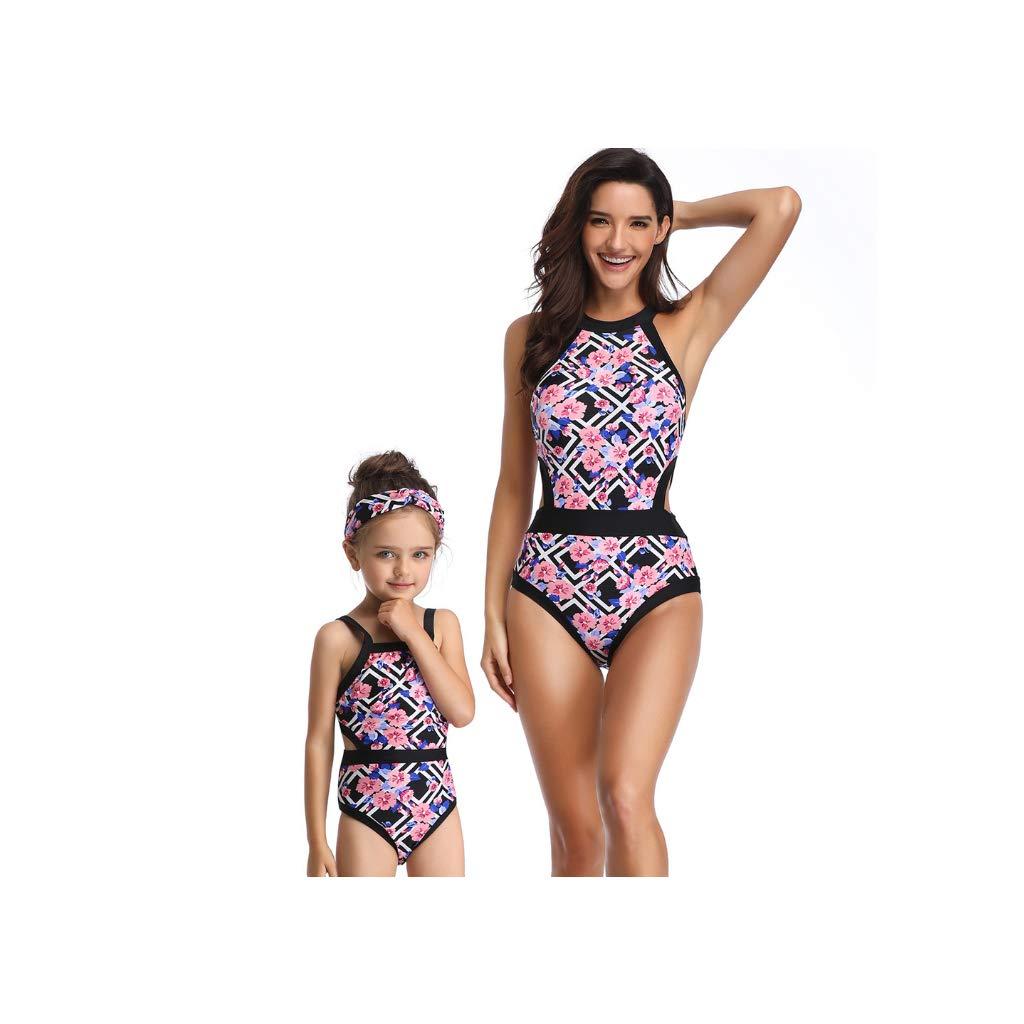 Bikini Ropa de baño Mujer Cintura Alta Traje de baño una Pieza Bikinis Madre e Hija Ropa Padre Hijo POLP Camisolas Niña Conjunto Mamá bebés Bañadores de Mujer Natacion S-XL