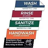 Pixelverse Design - Wash Rinse Sanitize Handwash Stickers - Great for Restaurants, Commercial Kitchens, 3 Sink…