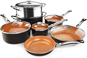 COSTWAY 12-Piece Copper Non-Stick Cookware Set, Pots and Pans Set, Fry Pan, Casserole Pot, Stock Pot with Handle & Tempered Glass Lid, Ceramic Stovetops/Induction Cooktops, Dishwasher/Oven Safe