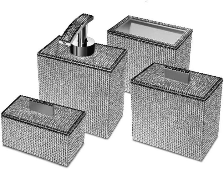 W Luxury Starlight Square Bathroom Accessories Set W Swarovski Crystal Set Of 4 Piece Soap Dispenser Pump Toothbrush Holder Cotton Swab Q Tip Container Polished Chrome Home Kitchen