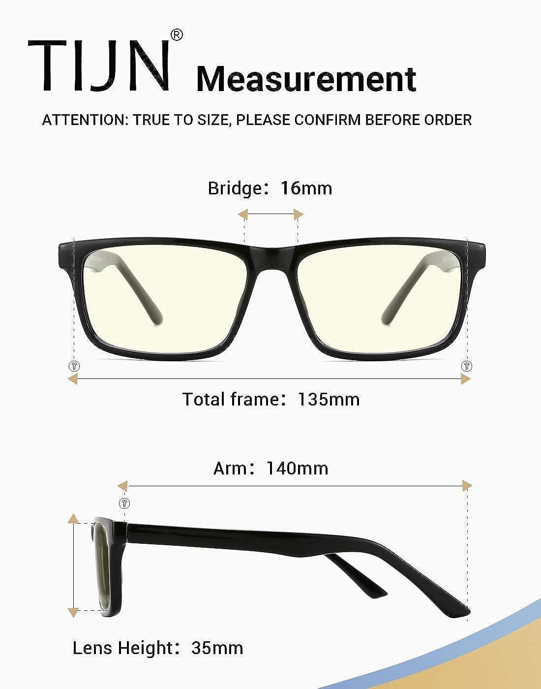 96fab1b403b9 Amazon.com: TIJN Anti UV Glare Blue Light Blocking Reading Glasses Square  Eyeglasses for Men Women: Clothing