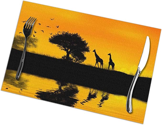 Gao808yuniqi Giraffe By The Lake 3d Printed Tableware Mat Placemats Set Of 6 18 X 12 Snack Placemats Beverage Placemats Party Placemats For Dining Table Kitchen Drink Placemat Home Kitchen Amazon Com