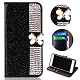 Glitter Leather Wallet Case for Samsung Galaxy J7 2018,Shinyzone Luxury Diamond Sparkle 3D Butterfly Magnetic Buckle Women Series Design Cover for Samsung Galaxy J7 2018,Black