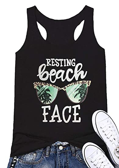 8926edd86ec28 Amazon.com  Mk Shop Limited Women s Resting Beach Face Sleeveless Funny  Workout Tank Top T-Shirt  Clothing
