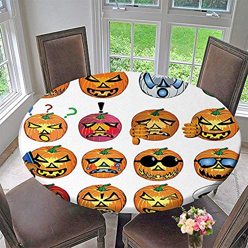 Mikihome Modern Table Cloth Carved Pumpkin with Faces Halloween Indoor or Outdoor Parties 40