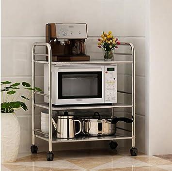 Pasamanos Muebles Cocina de acero inoxidable Tres capas Estante Soporte para horno de microondas Aterrizaje platos