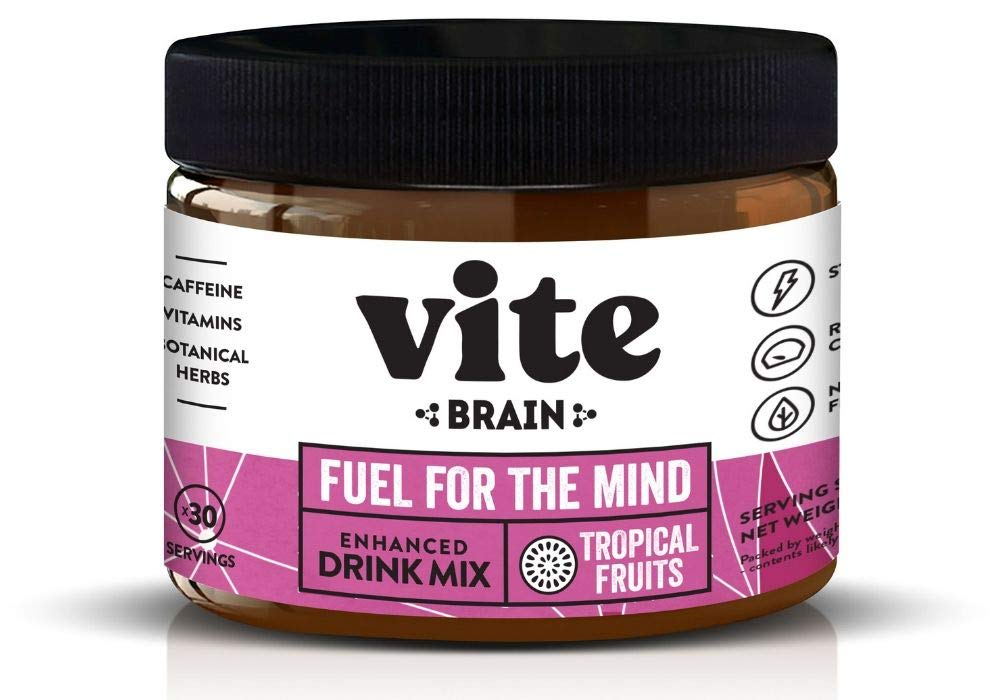 Vite Brain - Nootropic Energy Drink Powder, Natural Supplement to Enhance Focus, Energy & Productivity with 10 Essential Nootropics – Tropical Fruits