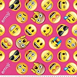 Emoji Fabric By the Yard Emojis Pink Anti-Pill Fleece Fabric By The Yard