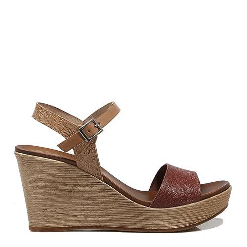 505fa078050 Sandalia Mujer PORRONET Cuña Lisa Moka  Amazon.es  Zapatos y complementos