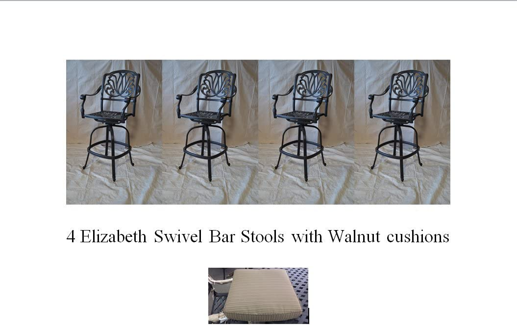 Elizabeth Outdoor Patio Set 4pc Swivel Bar Stools 30 Cast Aluminum Dark Bronze, Walnut Color