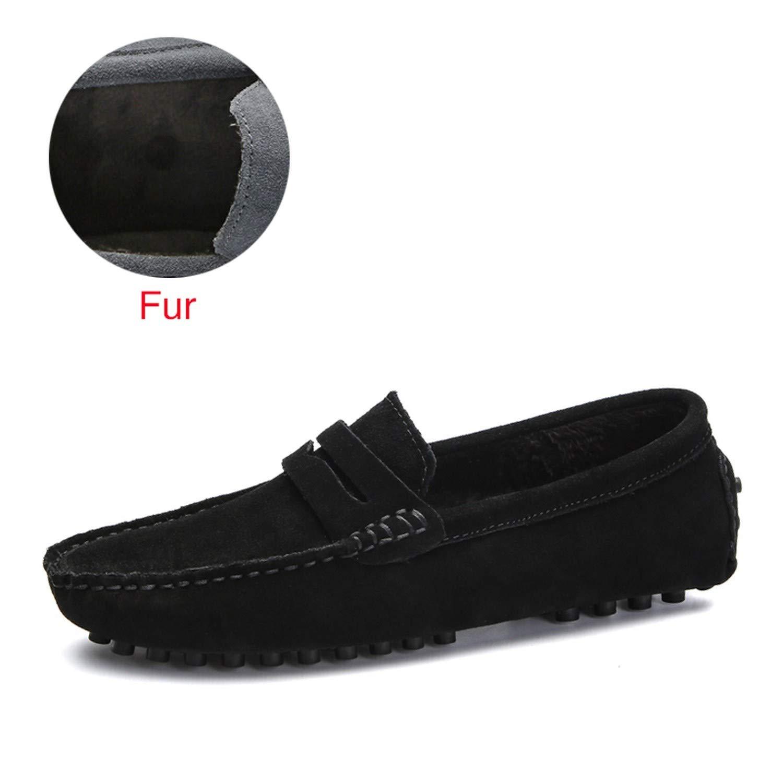 Soft Moccasins Men Loafers Genuine Leather Shoes Men Flats Gommino Driving Shoes,02 Fur Black,6.5