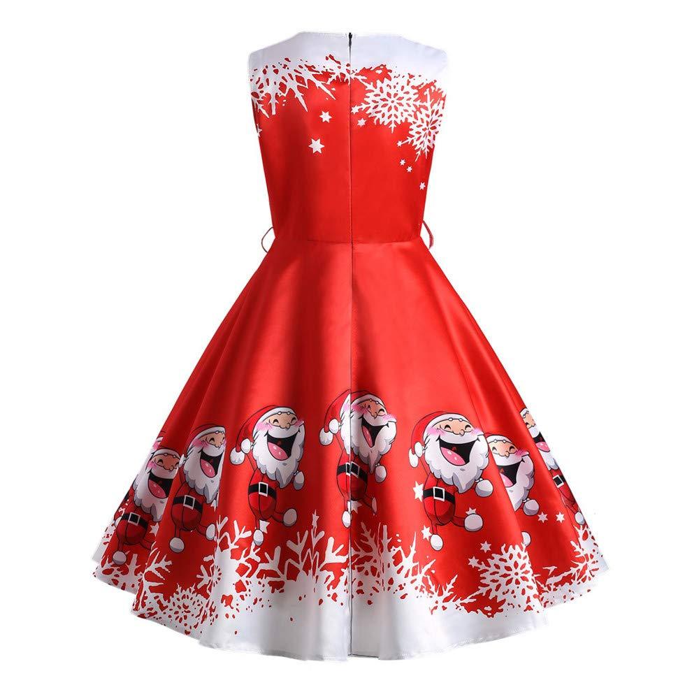 51f6d6ccb9802 Women Christmas Dress Ladies Xmas Santa Claus Print Dress Women Sexy Sleeveless  Dress Hepburn Dress Ball Gown Dress Plus Size S-2XL  Amazon.co.uk  Clothing