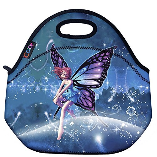 ICOLOR Cute Fairy Girls Insulated Neoprene Lunch Bag Tote