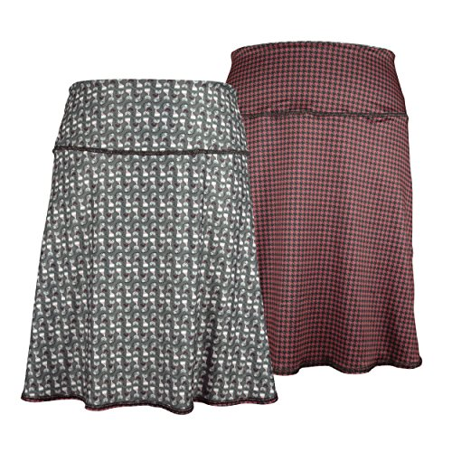 Spandex Reversible Skirt (Green 3 Novelty Reversible Skirt - Womens Recycled Skirt, Made in The USA (Clothes Cat & Houndstooth, Medium))