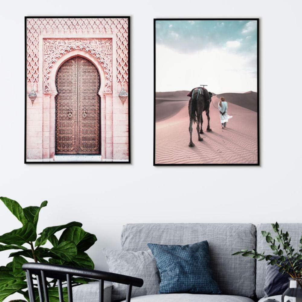 N//A Marruecos Moderno Cartel Sahara Lienzo Pintura Islam musulm/án Camello Pared Arte Cuadros para Sala de Estar impresi/ón decoraci/ón del hogar sin Marco 2 Piezas-Sahara/_16x20in 40x50cm