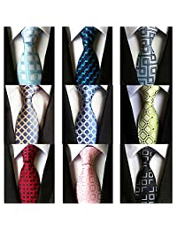 May Lucky Lot 9 PCS Classic Men's 8CM Tie Necktie Business Striped Plaid Neck Ties