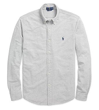 RALPH LAUREN Polo Men\u0027s Classic Fit Cotton Mesh Long Sleeve Featherweight Polo  Shirt (Spring Heather