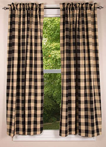 Buffalo Check Black and Tan 72″ x 63″ Unlined Cotton Curtain Panels
