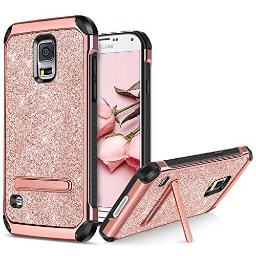 BENTOBEN Phone Case for Samsung Galaxy S5, Kickstand Protective Glitter Bling Phone Cases 2 in 1 Hard PC Soft TPU Shockproof Cover with Luxury Sparkly Shiny Faux Leather for Girls, Women - Rose Gold (Phone Cases For Bling)