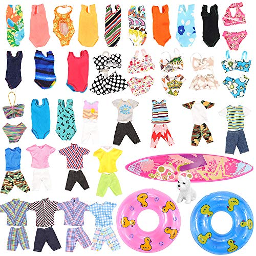 Miunana Lot 11 Pcs Handmade Clothes and Accessories Set for Ken and 11.5 Inch Dolls| 3 Random Swim Trunks for Ken + 5 Swimsuits for 11.5 Inch Doll + 1 Surf Skateboard + 2 Lifebuoys| Summer Beach Style]()
