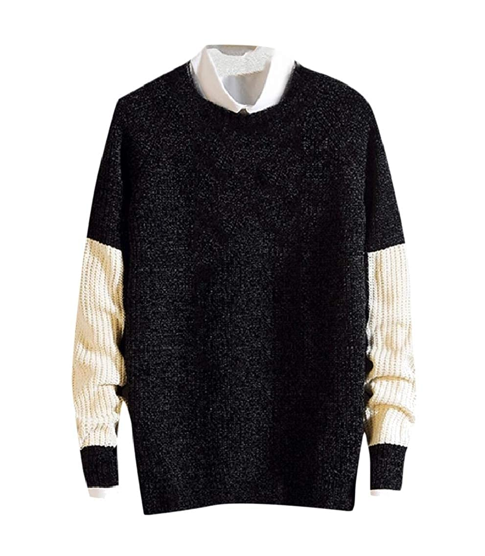 Fseason-Men Fall Winter Baggy Casual Crew-Neck Pullover Knitted Sweater