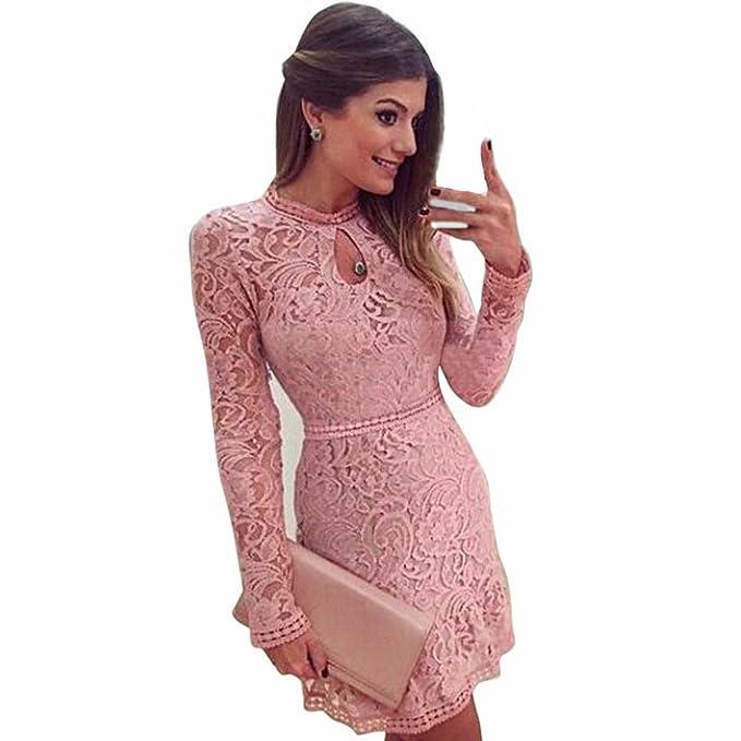 Vestido De Mujer, Xinan Hollow Lace Manga Larga Vestido Delgado Vestido de Fiesta Rosa (