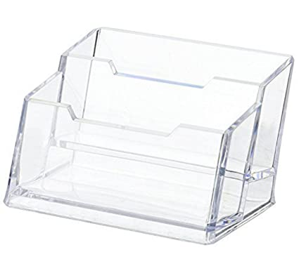 Amazon maogear business card case holder 2 tier premium maogear business card case holder 2 tier premium acrylic clear business card holder display colourmoves