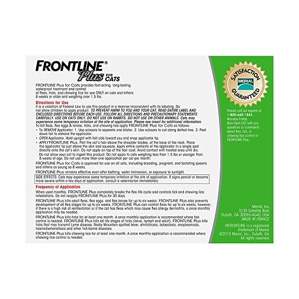 Cat Health Products Frontline Plus for Cats and Kittens (1.5 pounds and over) Flea and Tick Treatment, 3 Doses [tag]