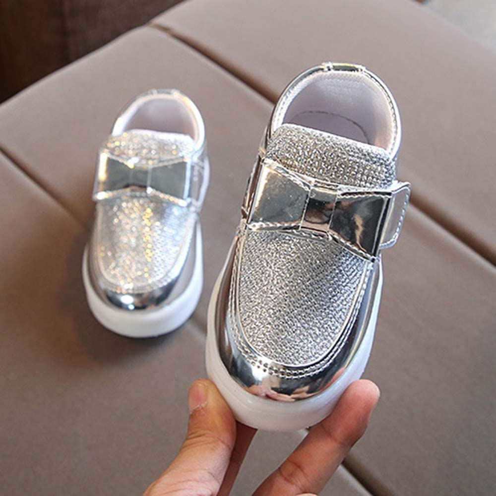 Vielone/_Lumi Toddler Kids Boys Girls Glitter Slip on Flats with Bow Sparkle Sneakers Light up Tennis Shoes Luminous Walking Shoes Flashing Hiking Boots for Outdoor Sports
