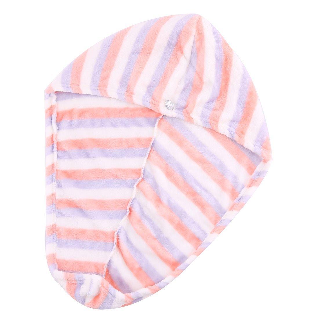 Amazon.com: eDealMax Señora franela a Rayas patrón de triángulo botón en Forma de toalla cierre de tapa Hiar seco Sombrero: Home & Kitchen