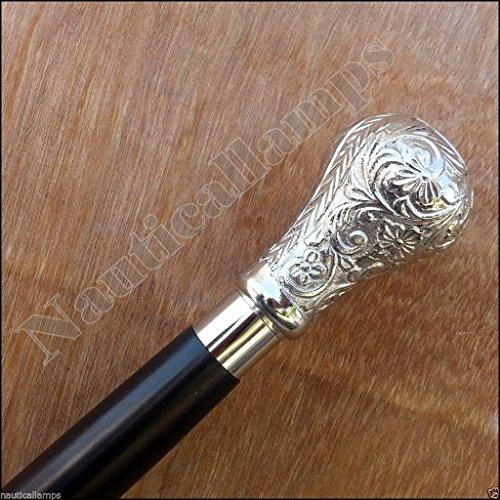 Brass Designer Antique Style Cane Wooden Walking Stick Vi...