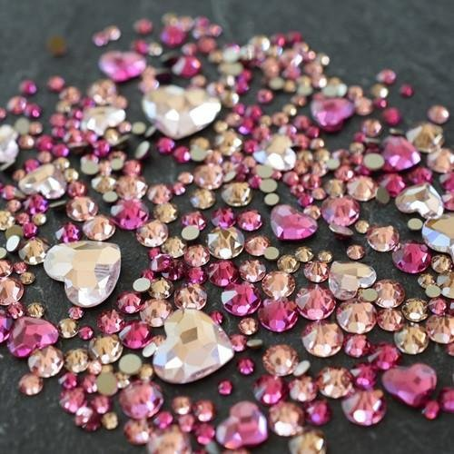 Swarovski Flatback Crystals No Hotfix Theme Mix - Hearts | Pack of 260 | Small & Wholesale Packs